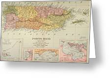 Map: Puerto Rico, 1900 Greeting Card