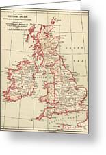 Map: British Isles, C1890 Greeting Card