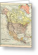 Map: North America, 1890 Greeting Card
