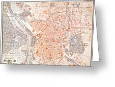 Spain: Madrid Map, C1920 Greeting Card