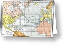Map: Atlantic Voyages Greeting Card