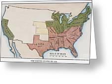 United States Map, 1854 Greeting Card