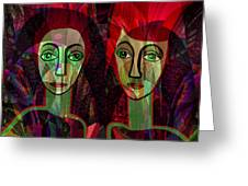 039   Two Pensive Women A Greeting Card