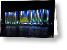06 Grain Elevators Light Show 2015 Greeting Card