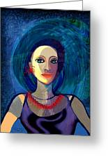 066 Woman With Red Necklace Av Greeting Card