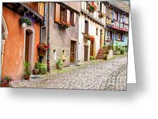 Half-timbered House Of Eguisheim, Alsace, France Greeting Card