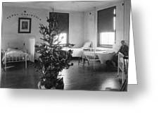 Christmas Tree In Hospital Ward 1923 Black White Greeting Card