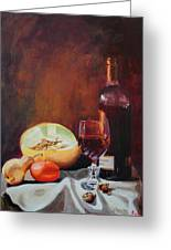 Still Life With Wine Greeting Card by Rose Sciberras