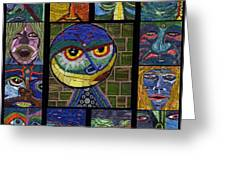 13 Faces  Greeting Card