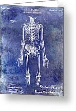 1911 Anatomical Skeleton Patent Blue Greeting Card