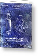 1913 Pocket Watch Patent Blue Greeting Card