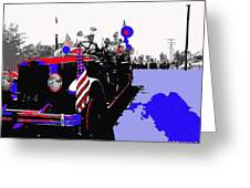 1930 American Lafrance Fire Truck Pro-viet Nam War March Tucson Arizona 1970 Color Added Greeting Card