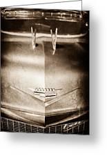 1956 Cadillac Eldorado Biarritz Convertible Hood Ornament - Emblem Greeting Card