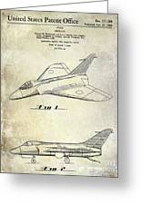 1956 Jet Airplane Patent 2 Blue Greeting Card
