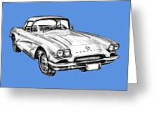 1962 Chevrolet Corvette Illustration Greeting Card