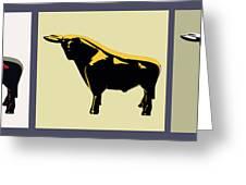 3 Bulls Greeting Card