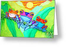 3 Little Frogs Greeting Card