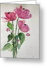 3 Pink Flowers Greeting Card
