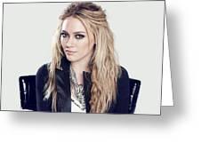 83110 Blonde Jacket Sitting Simple Background Hazel Eyes Hilary Duff Women Greeting Card