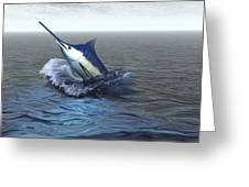A Blue Marlin Bursts From The Ocean Greeting Card