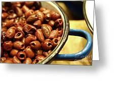 A Bowl Of Black Olives  Greeting Card