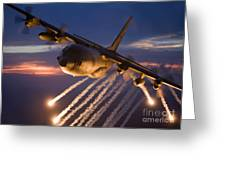 A C-130 Hercules Releases Flares Greeting Card