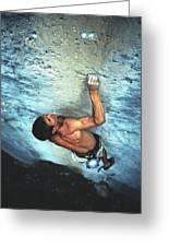 A Caucasian Man Rock Climbing Greeting Card by Bobby Model
