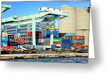 A Container Is Loaded In Kaohsiung Port Greeting Card