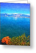 A Digitally Constructed Painting Of A Small Fishing Boat  With Snow Covered Mountains In Antalya Turkey Greeting Card