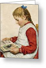A Girl Looking At A Book Greeting Card