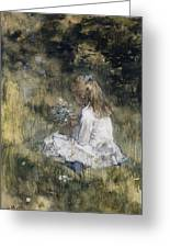 A Girl With Flowers On The Grass Greeting Card