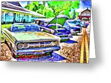 A Line Of Classic Antique Cars 3 Greeting Card