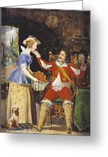 A Maid Offering A Basket Of Fruit To A Cavalier Greeting Card