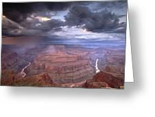 A Monsoon Storm In The Grand Canyon Greeting Card by David Edwards