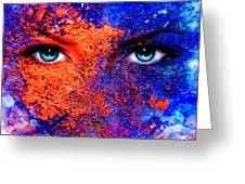 A Pair Of Beautiful Blue Women Eyes Beaming Color Earth Effect Painting Collage Violet Makeup Greeting Card