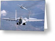 A Pair Of Bulgarian Air Force Mig-29s Greeting Card