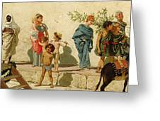 A Roman Street Scene With Musicians And A Performing Monkey Greeting Card