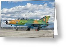 A Romanian Air Force Mig-21b Airplane Greeting Card