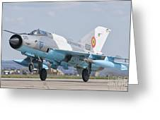 A Romanian Air Force Mig-21c Taking Greeting Card