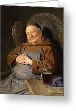 A Seated Monk With A Tankard Greeting Card