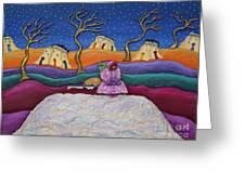 A Snowy Night Greeting Card by Anne Klar
