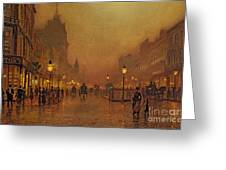 A Street At Night Greeting Card