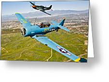 A T-6 Texan And P-51d Mustang In Flight Greeting Card
