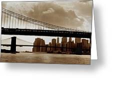 A Tale Of Two Bridges Greeting Card by Joann Vitali