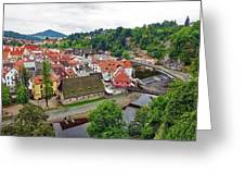 A View Overlooking The Vltava River And Cesky Krumlov In The Czech Republic Greeting Card