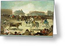 A Village Bullfight Greeting Card