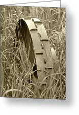 Abandoned Steel Farm Implement Wheel Greeting Card