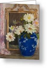 Abbott Graves 1859-1936 Flowers In A Blue Vase Greeting Card
