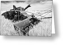 Abondoned Combine In Tall Grass Greeting Card