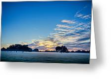 Abstract Early Morning Sunrise Over Farm Land Greeting Card